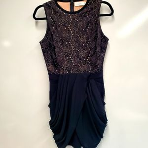 A.L.C. Structured Lace Black Lined Dress S…
